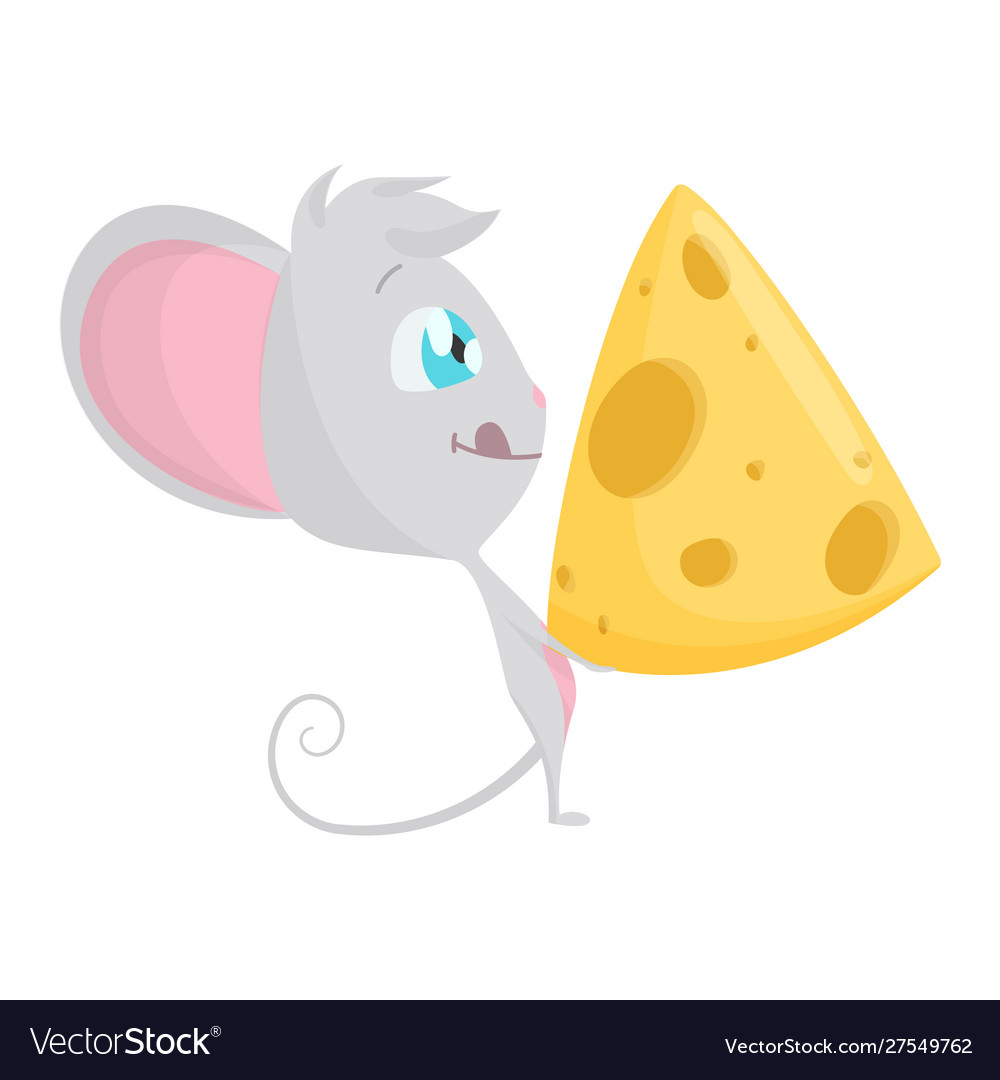 Cute grey mouse with a big slice cheese