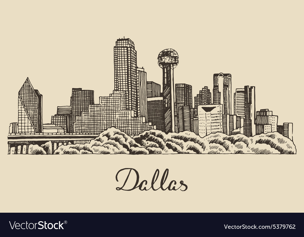 dallas skyline hand drawn royalty free vector image