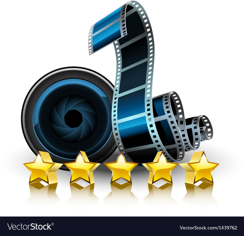 Films lens and stars vector image