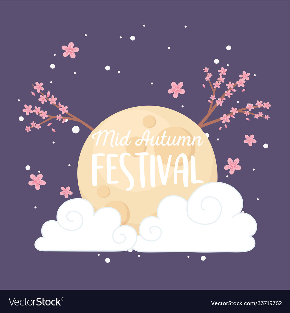 Happy mid autumn festival night full moon cloud