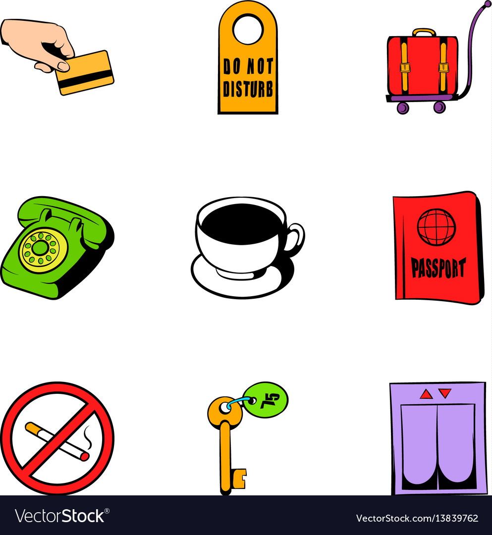 Receptionist icons set cartoon style