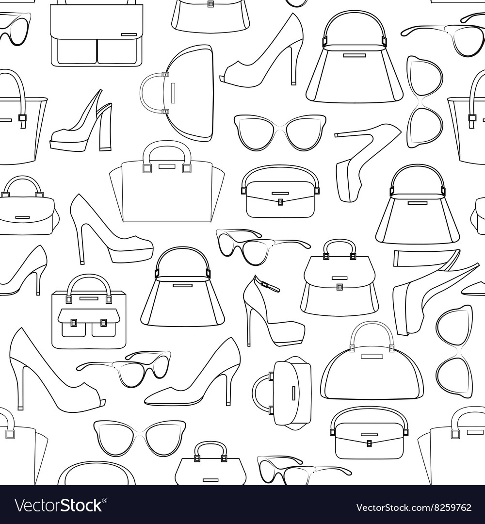 Seamless pattern of bags and shoes