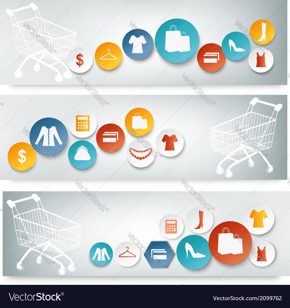 Three Shopping banners with colorful icons
