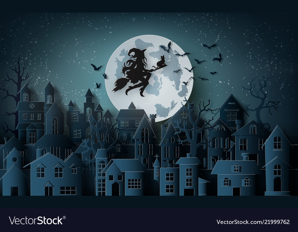 Witch riding a broom flying in sky over the