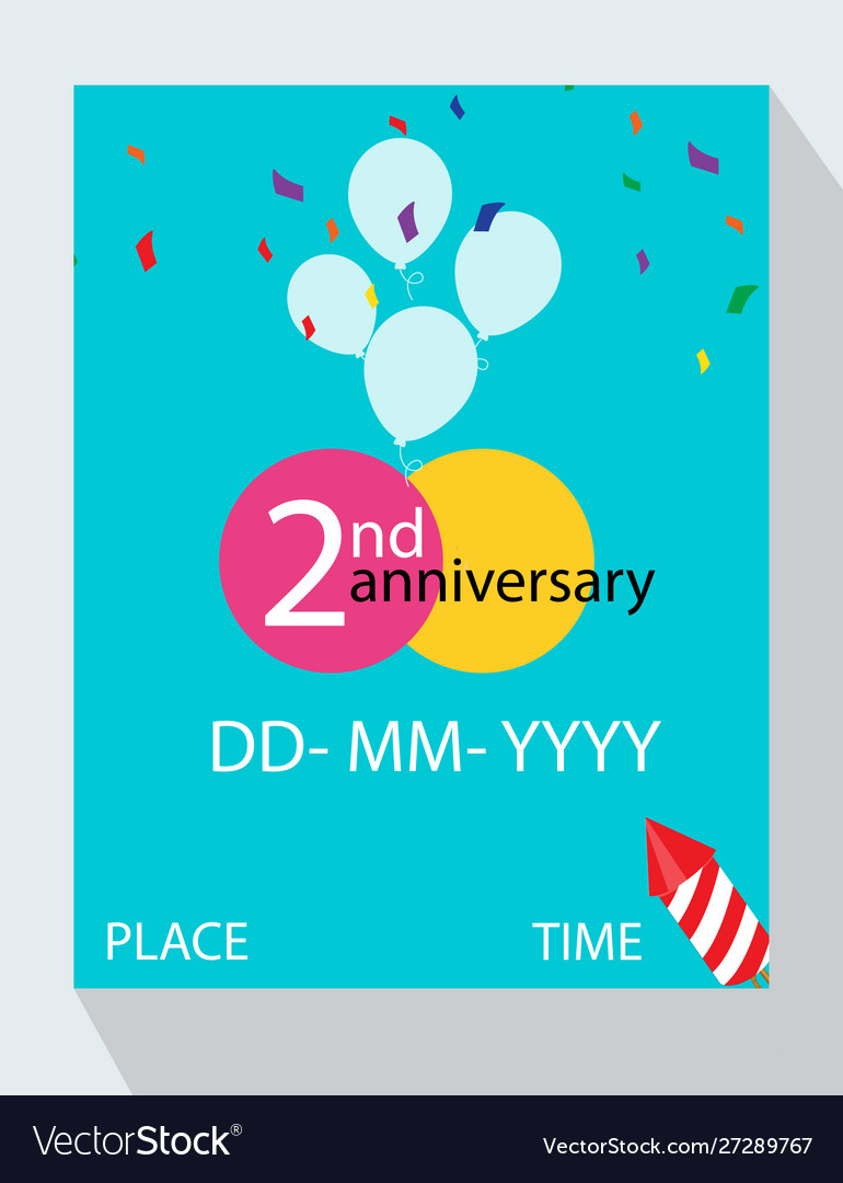 2nd year anniversary invitation design with gift