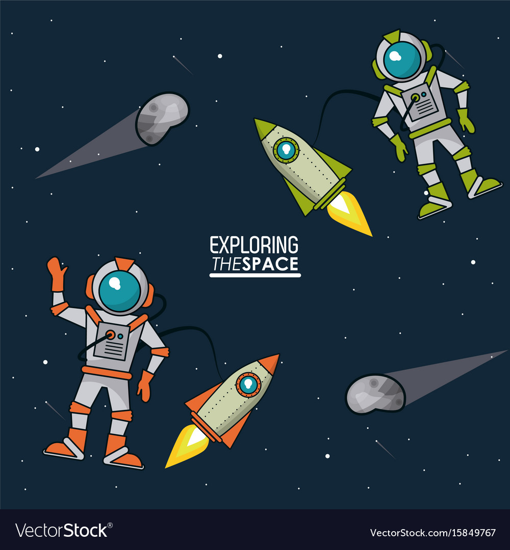 Colorful poster exploring the space with