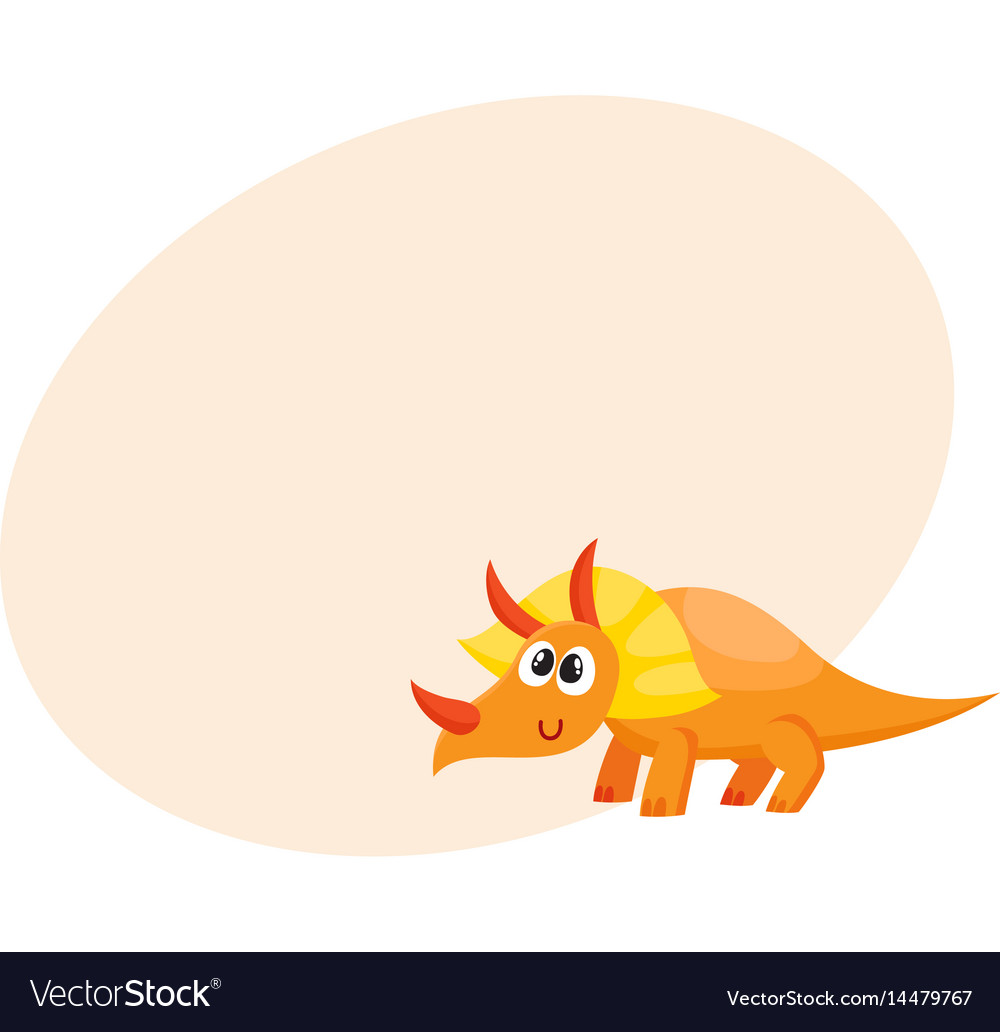 Cute and funny smiling baby triceratops dinosaur