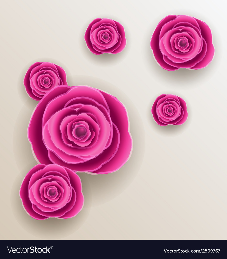Cutout Flowers Beautiful Roses Paper Craft Vector Image