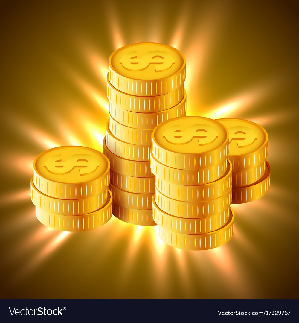 Golden coins concept of