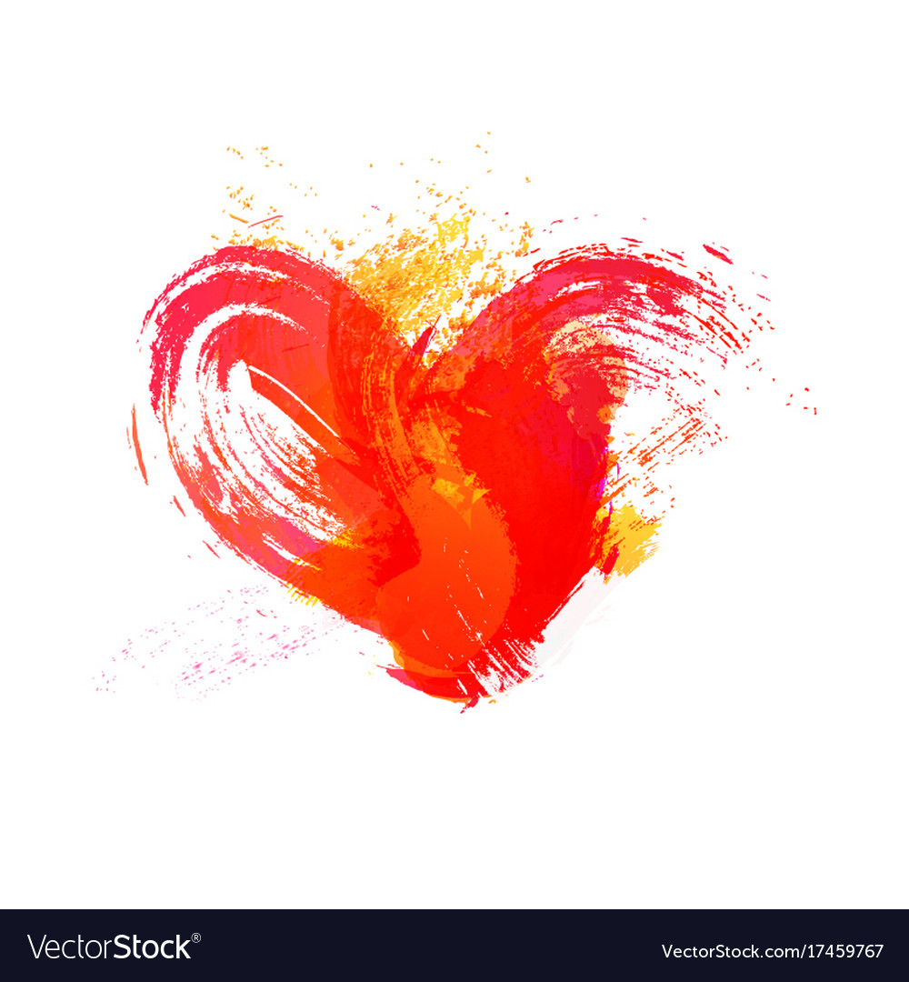 Isolated watercolor red heart with effects on