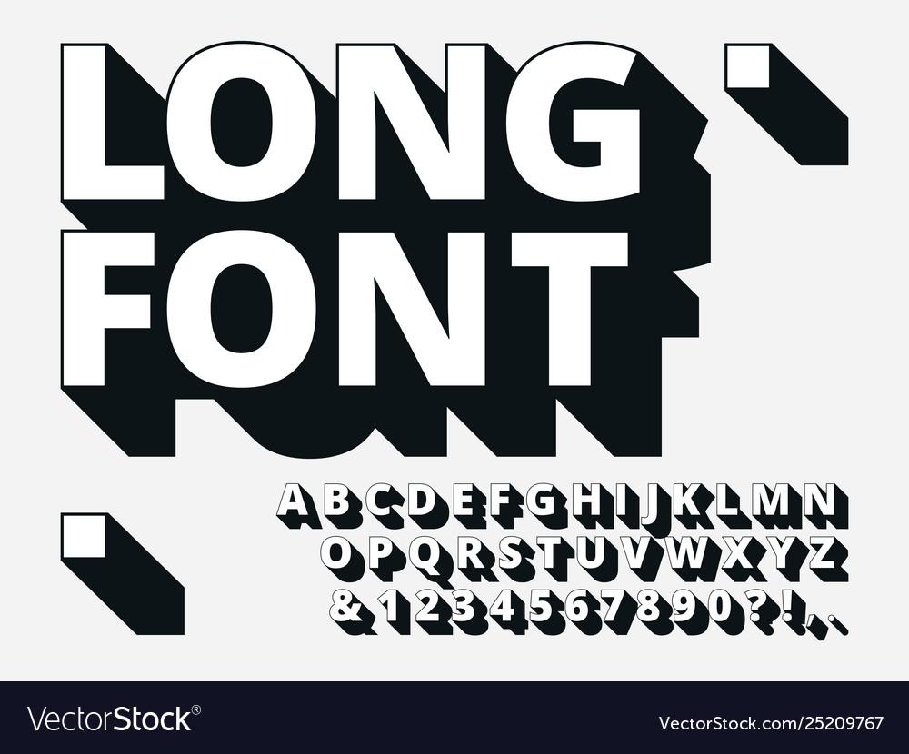 Long shadow font retro boldness 3d alphabet old