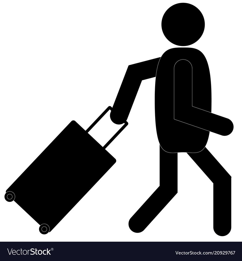 Man with luggage icon on white background