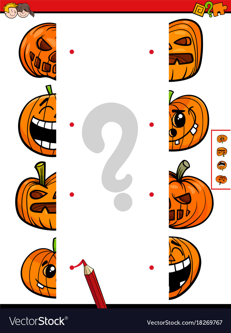 match halves game of halloween pumpkins vector image