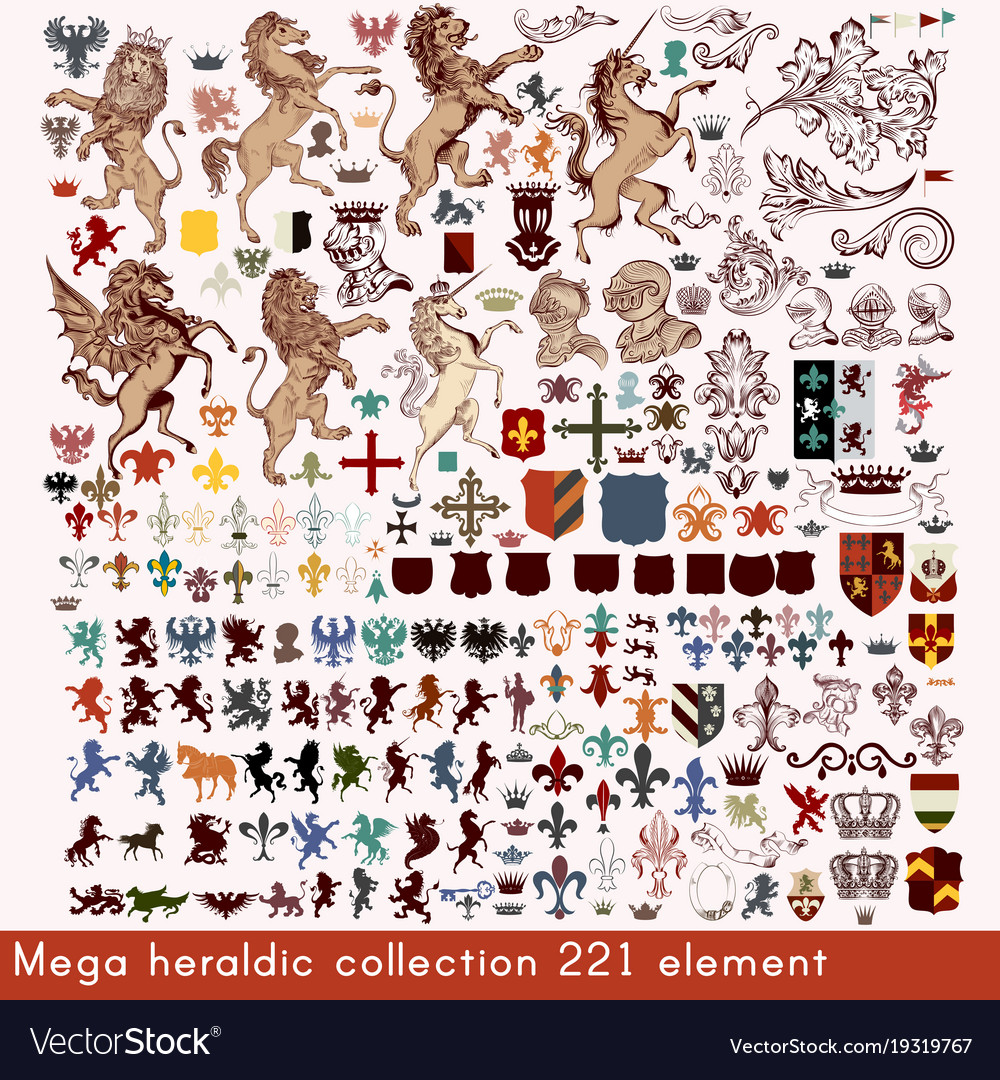 Mega collection of heraldic elements
