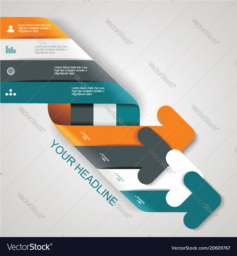 Modern 3d design arrows tag or label icon