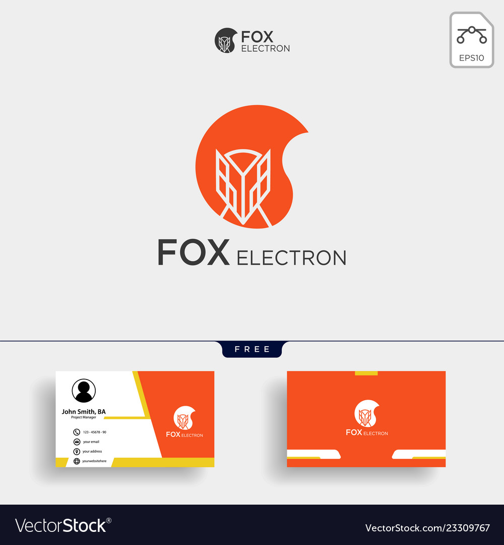 Negative space fox logo for with business card