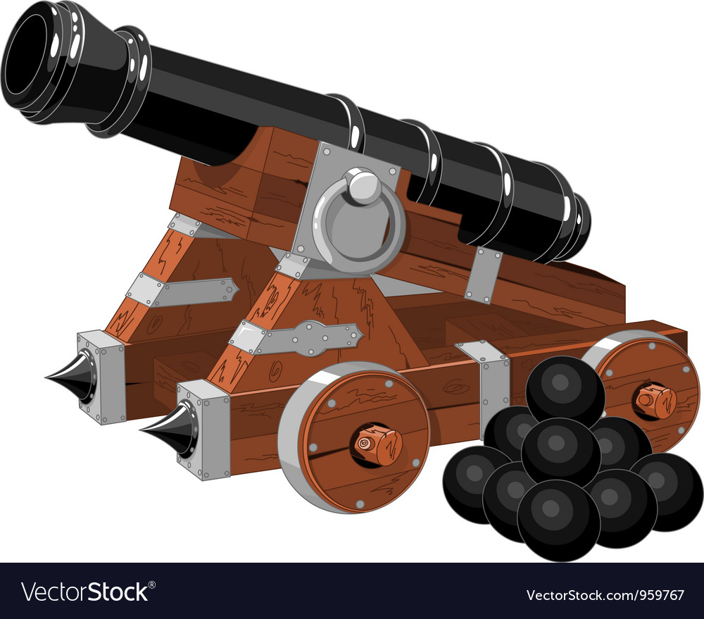 Old pirate ship cannon vector image