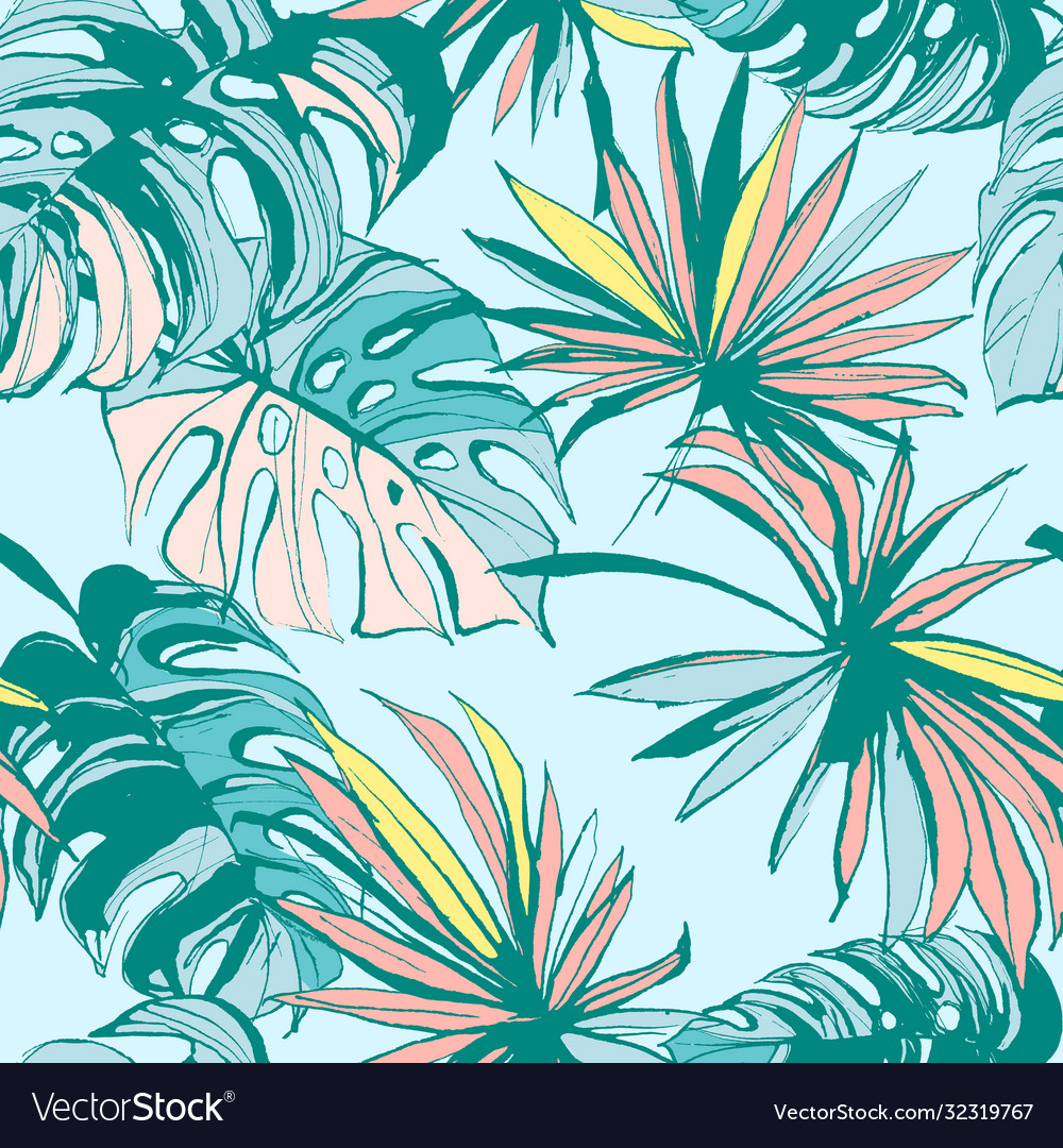 Seamless pattern ink hand drawn tropical palm