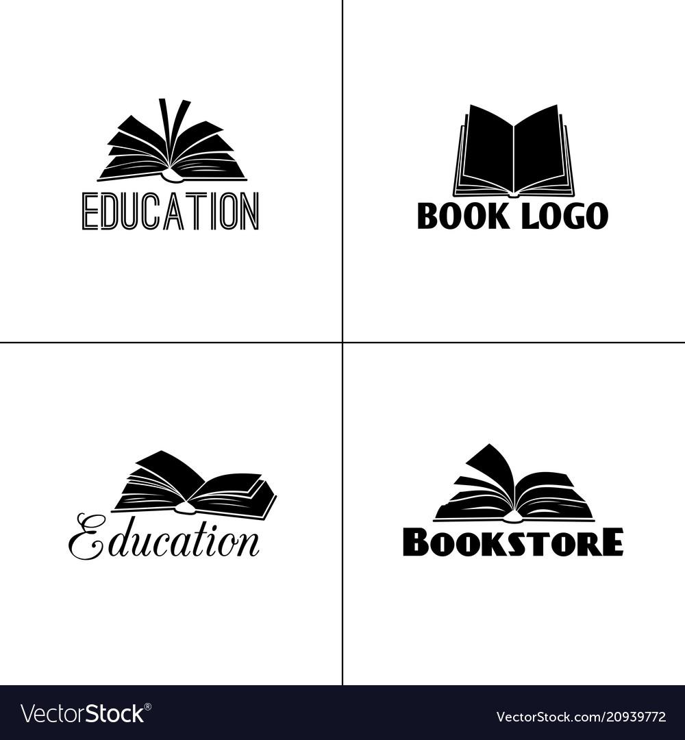 Books and education logo set paper book black