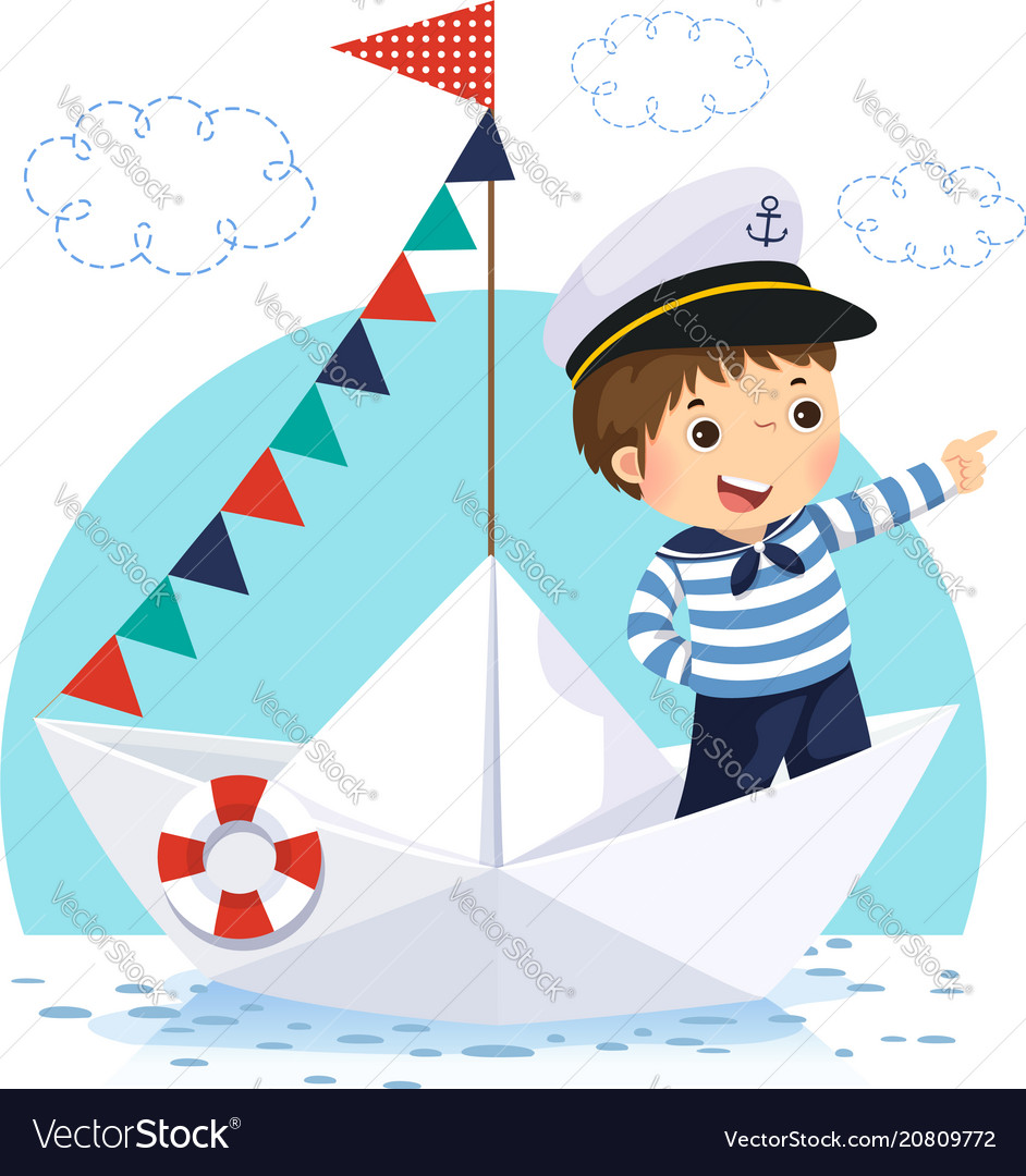 Boy in sailor costume standing in a paper boat