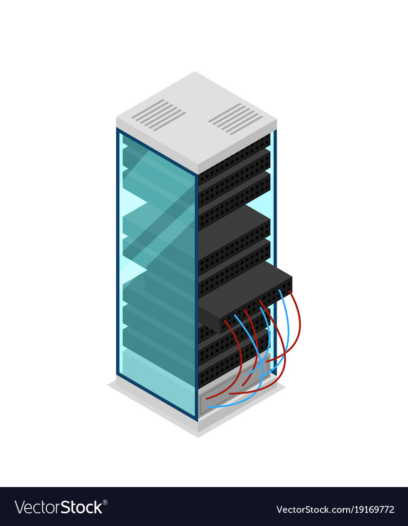 computer server rack isometric 3d icon royalty free vector