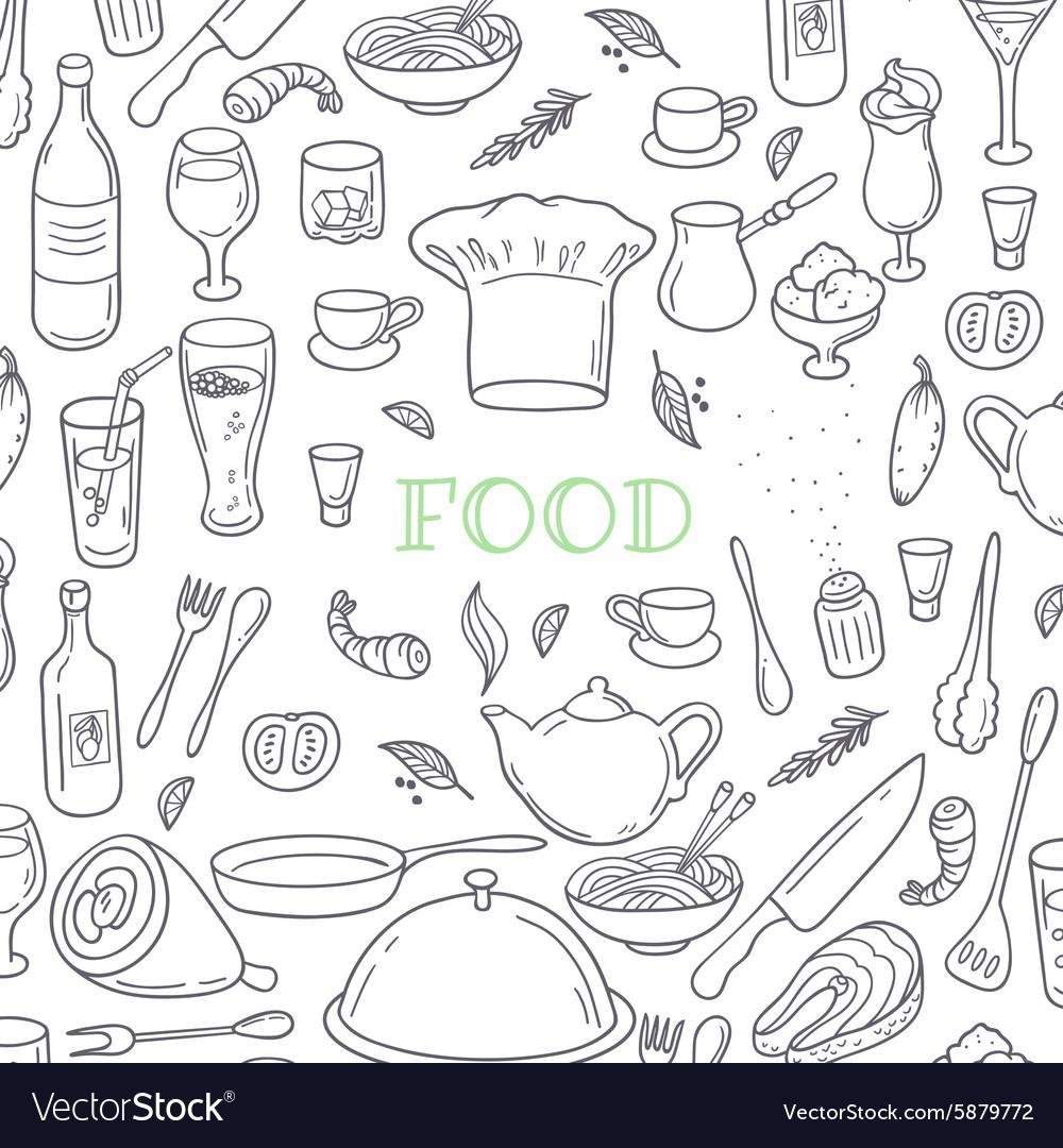 Food and drink outline doodle background Hand