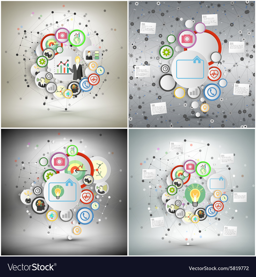 Infographic networks set with icons for business vector image