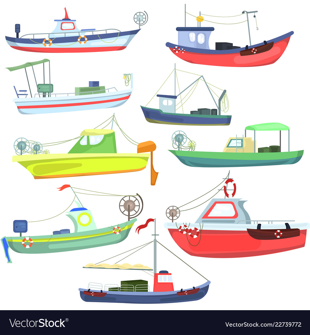Sea fishing vessels and boats sea ships for