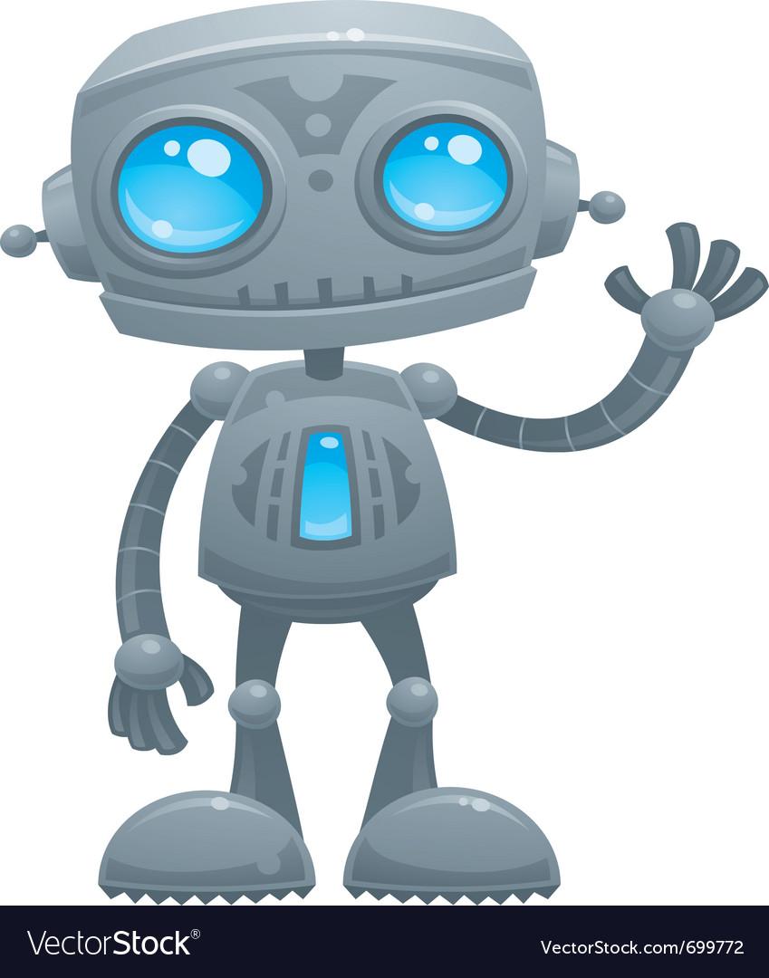 waving robot royalty free vector image vectorstock rh vectorstock com robot vector art robot vector paths
