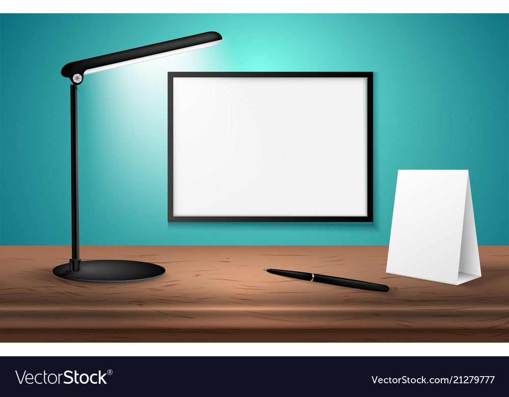 Pleasing 3D Desk Lamp On Wooden Table Lights Up Empty Home Interior And Landscaping Mentranervesignezvosmurscom
