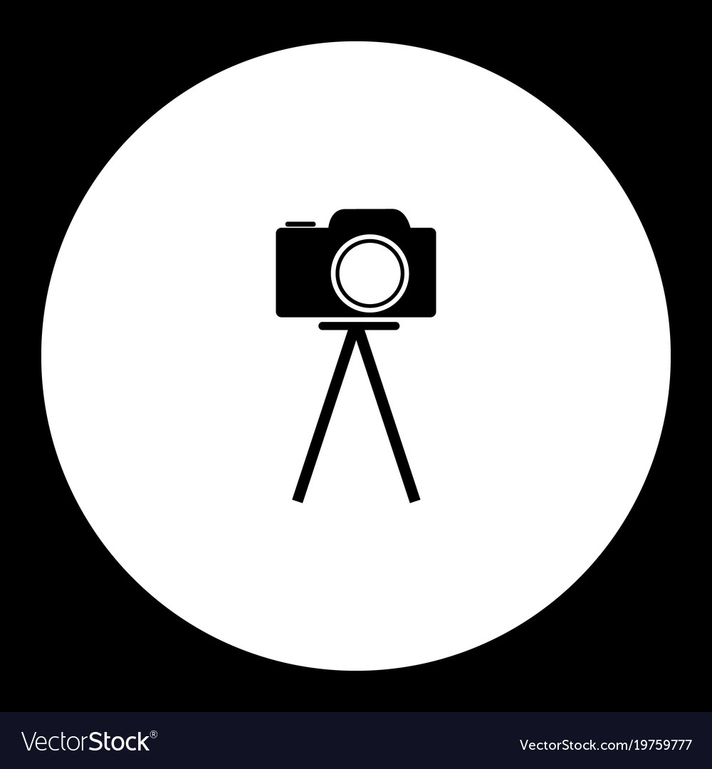 Camera on tripod simple black and green icon eps10