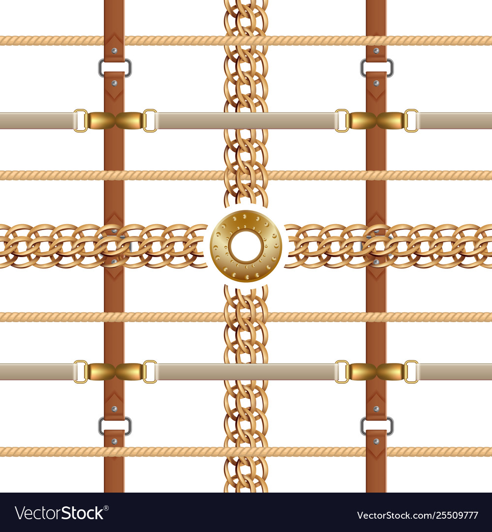 Chains and belts seamless pattern baroque