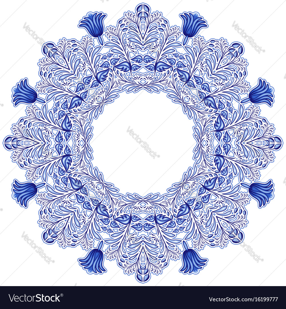 Circular ornament in gzhel style blue floral