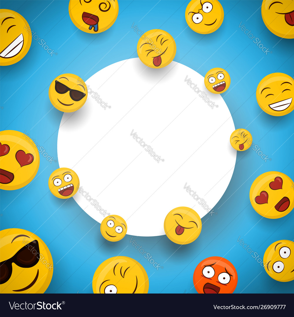 Fun Smiley Face Cartoon Icons White Frame Template