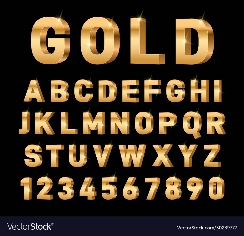 Gold 3d font glossy rich alphabet trendy metal