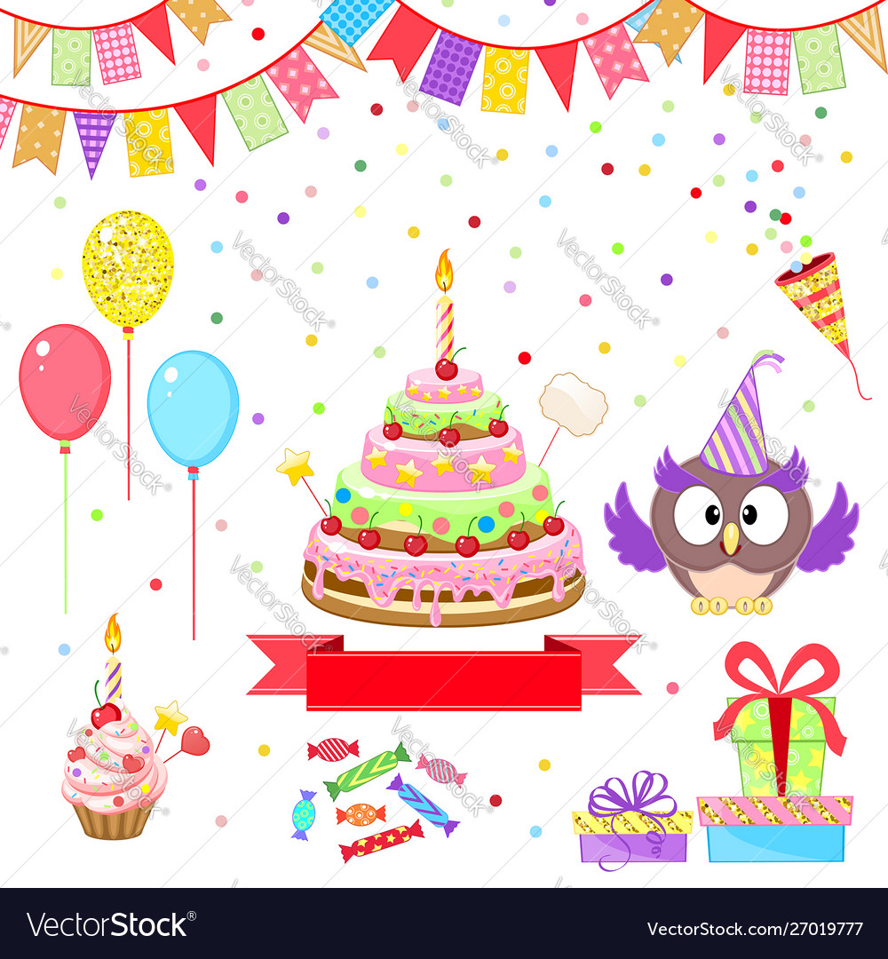 Greeting set with funny owl and birthday cake