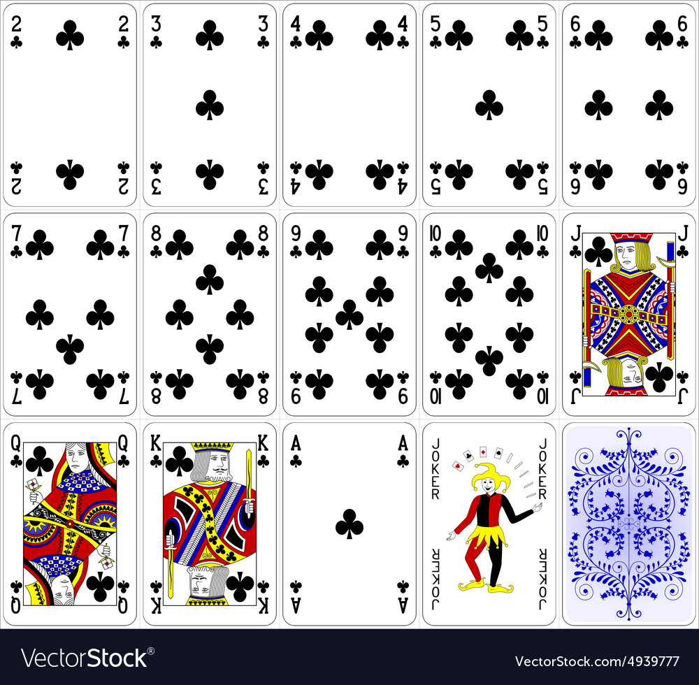 Poker cards club set four color classic design vector image
