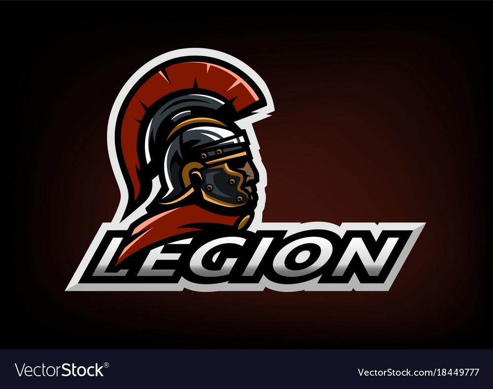 Roman legionnaire logo on a dark background