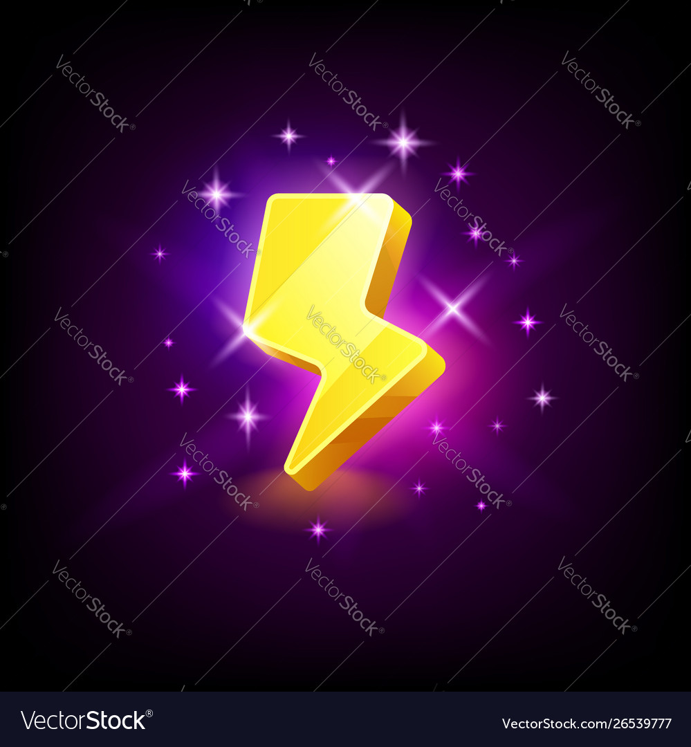 Shining yellow lightning icon for online casino or