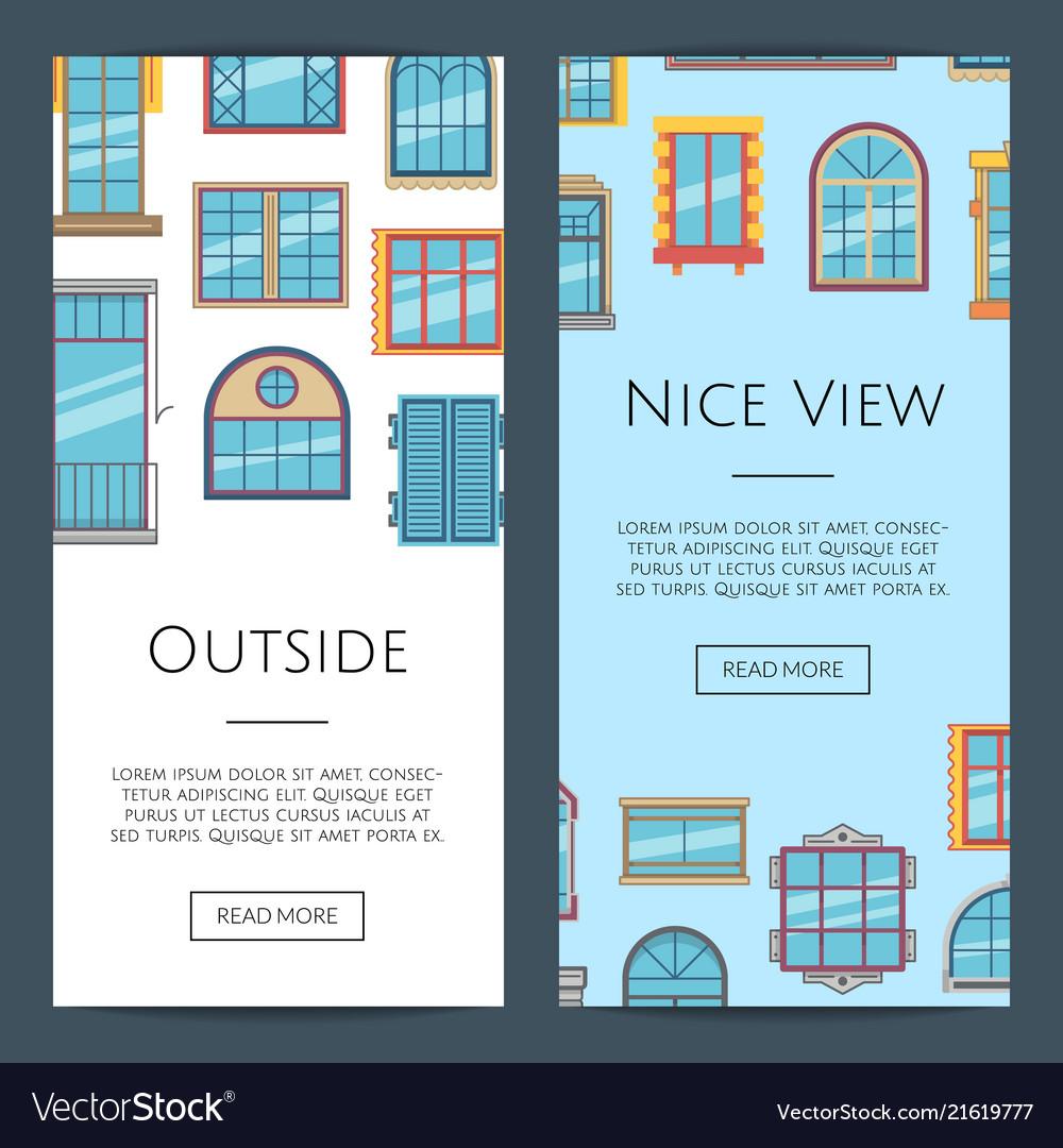 Window flat icons web banners
