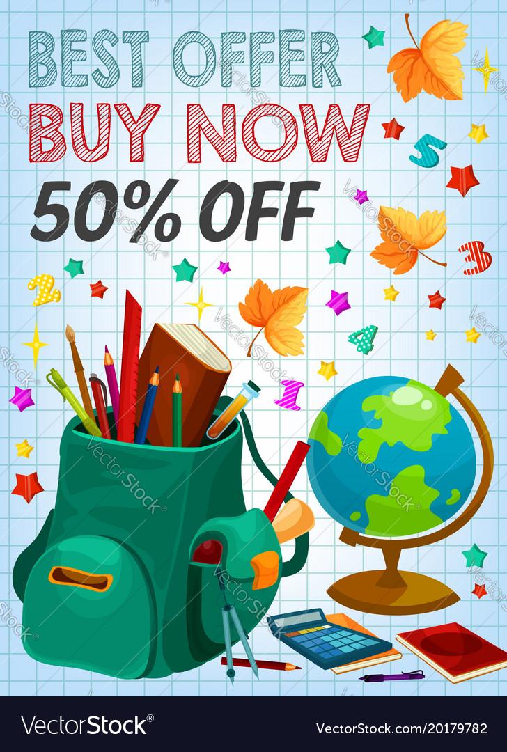 Back to school supplies sale banner retail design vector image