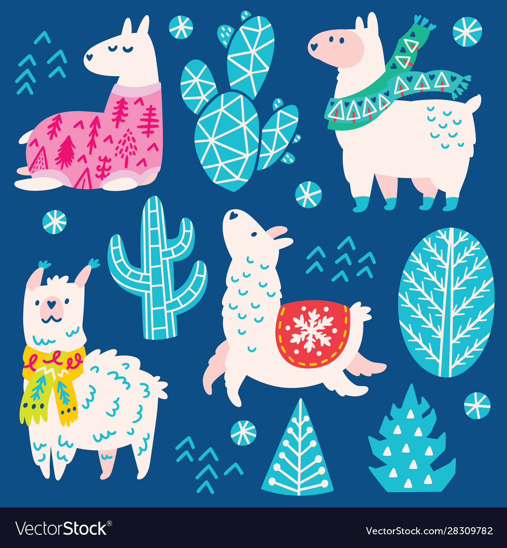 Collection christmas llamas decorative