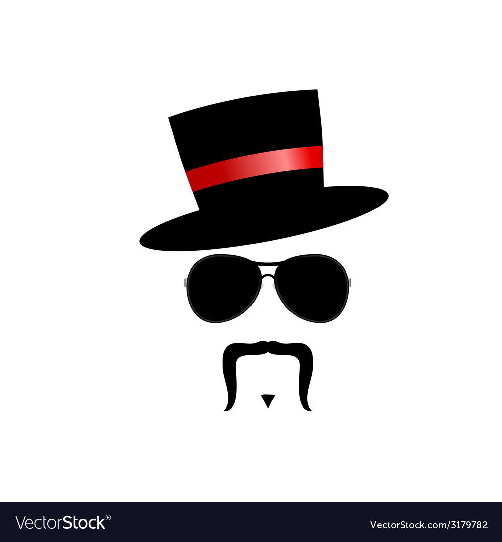 Face with mustache silhouette