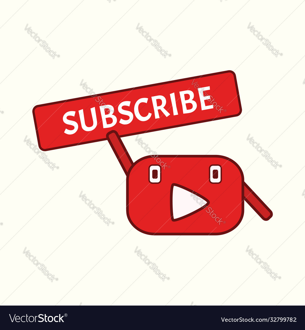 Funny mascot youtube channel subscribe button
