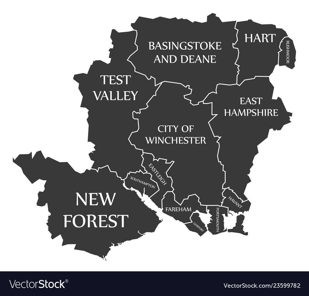 Map Of Counties England.Hampshire County England Uk Black Map With White