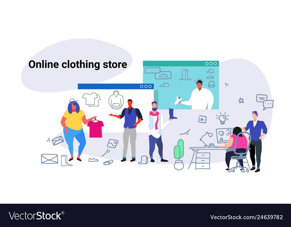 People doing online shopping fashion men women
