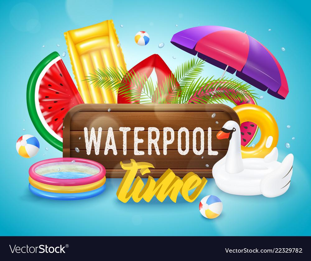 Realistic inflatable pool horizontal poster