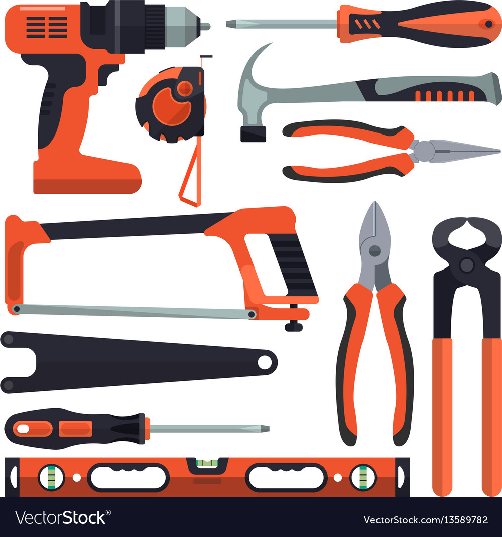 Set of building tools icons in flat style