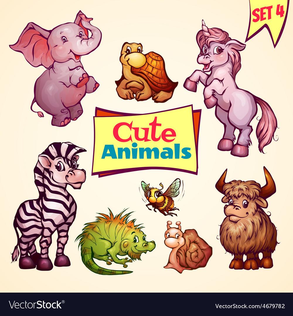 Set of cute animals Elephant snail