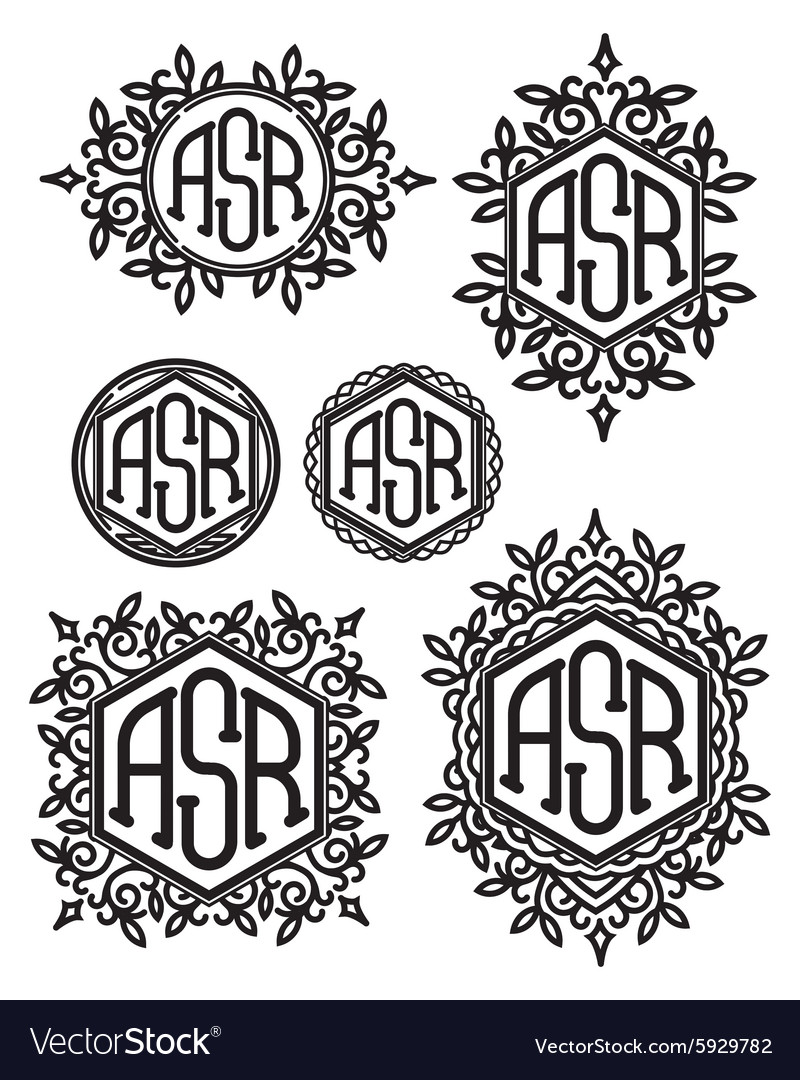 Set retro patterns monograms with Floral